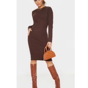 NWT! Thick Knitted Long Sleeve Midi Dress